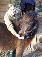 Hannah with one of the Dartmoor ponies